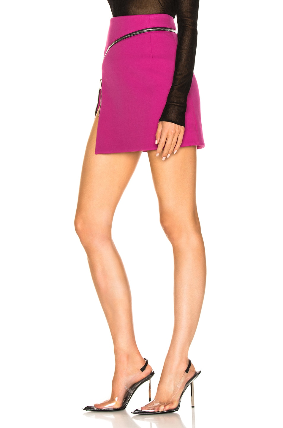 Image 3 of Alexander Wang Zip Detail Mini Skirt in Fuchsia
