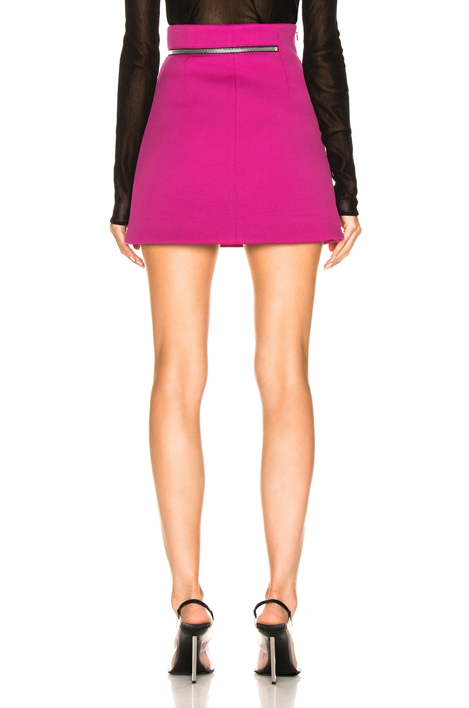 Image 4 of Alexander Wang Zip Detail Mini Skirt in Fuchsia