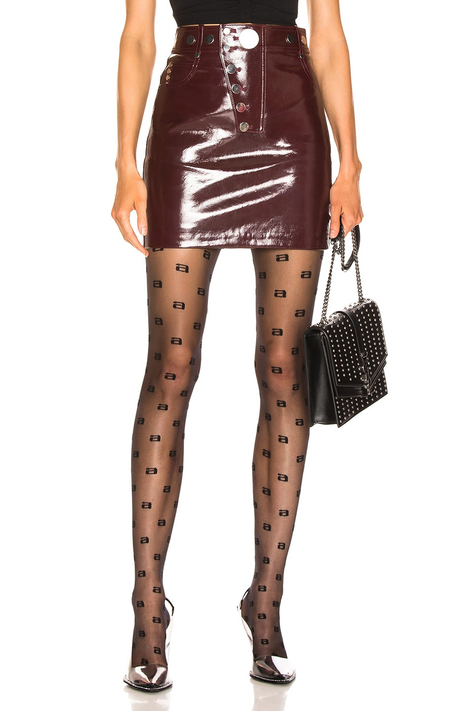 Image 1 of Alexander Wang High Waisted Snap Skirt in Oxblood
