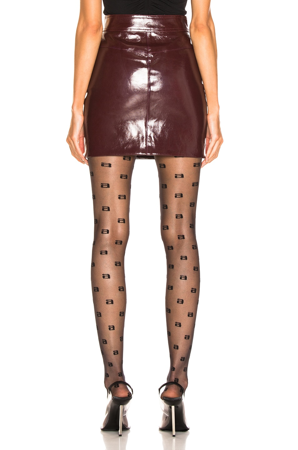Image 3 of Alexander Wang High Waisted Snap Skirt in Oxblood