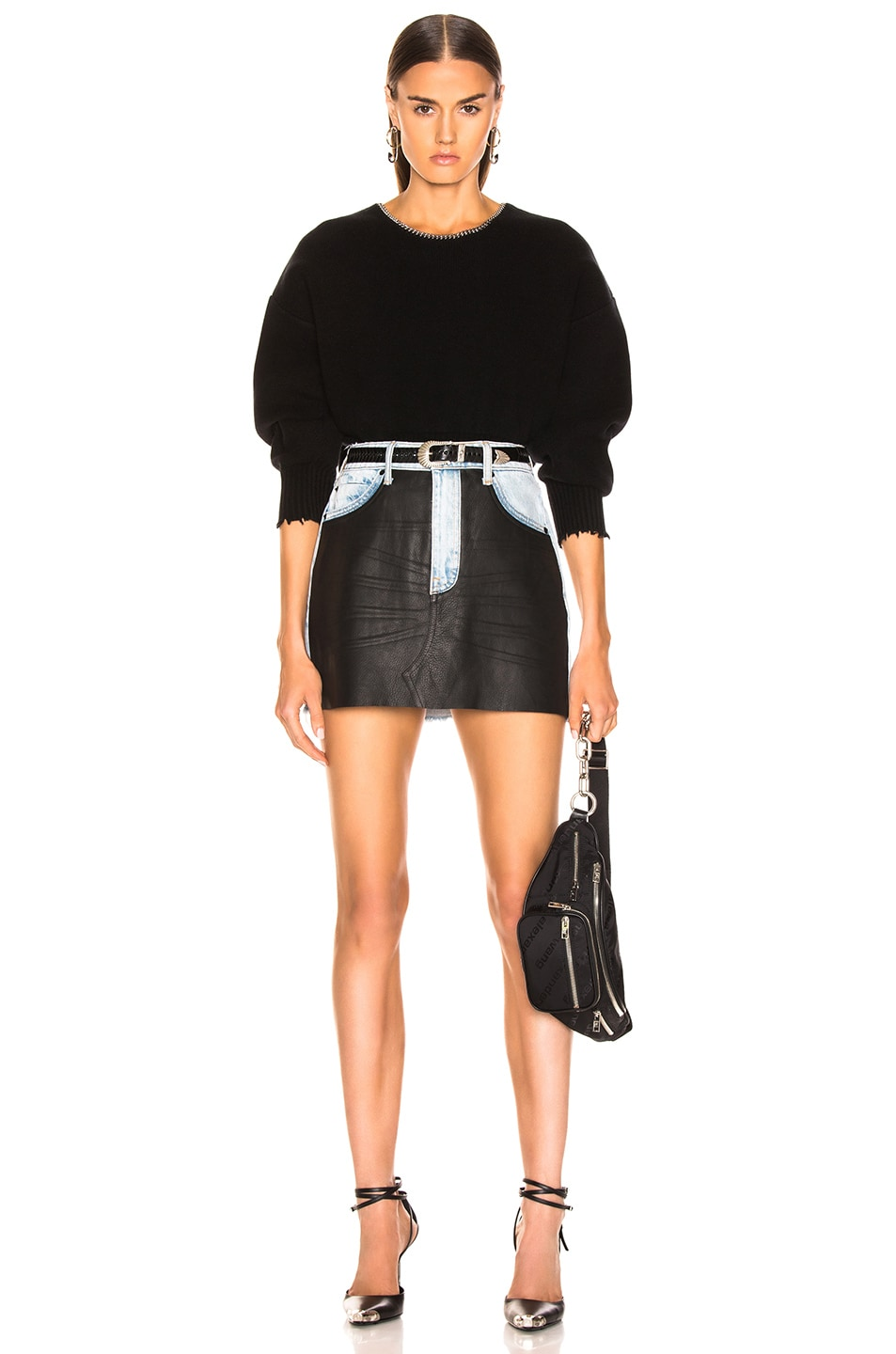 Image 4 of Alexander Wang Bite Leather Combo Skirt in Bleach & Black