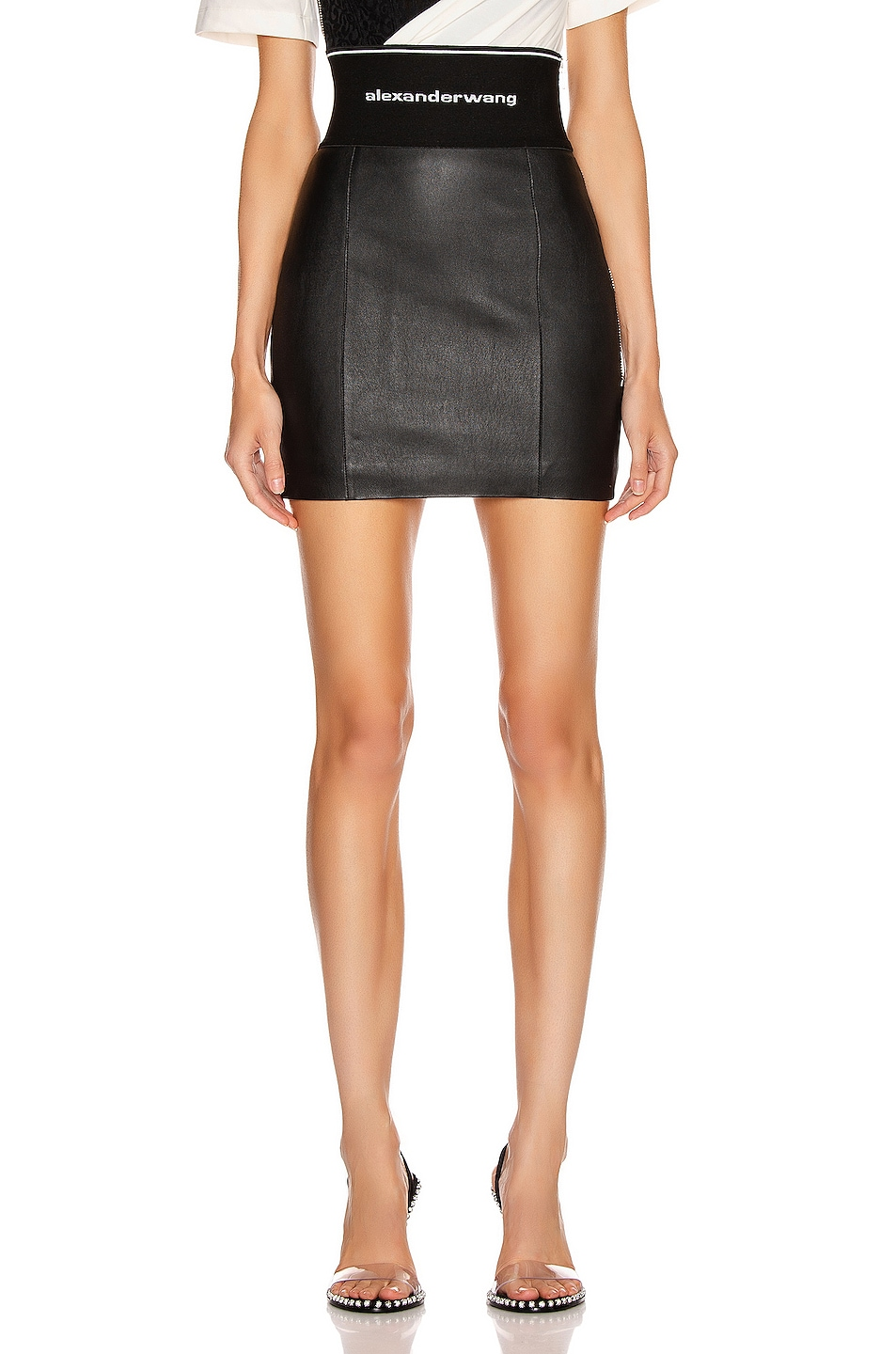 Image 1 of Alexander Wang Stretch Leather Skirt in Black