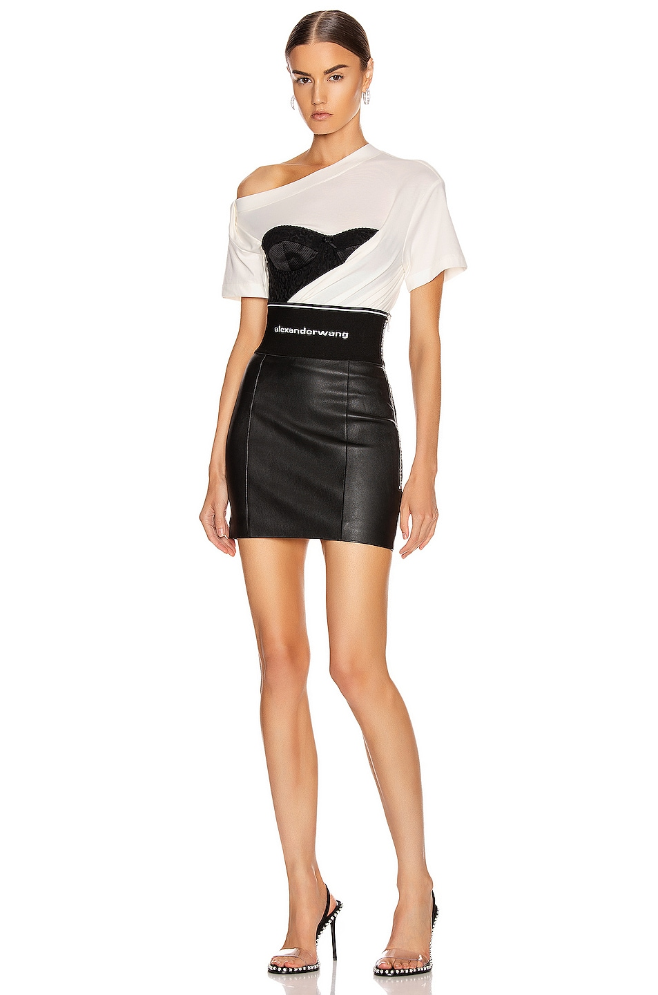 Image 4 of Alexander Wang Stretch Leather Skirt in Black