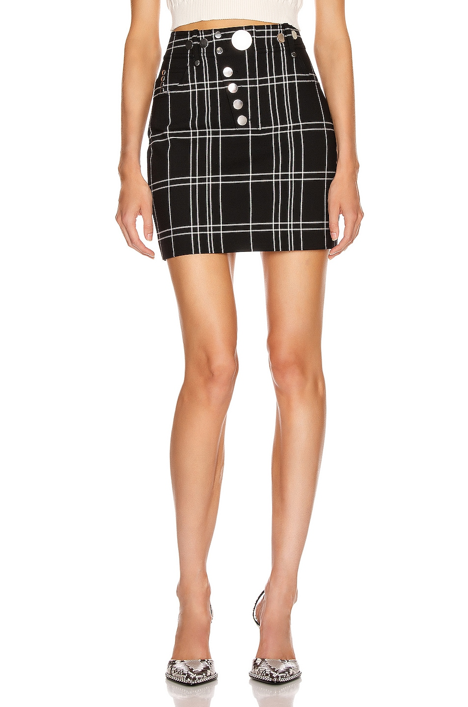 Image 1 of Alexander Wang Front Snap Skirt in Black & White Windowpane