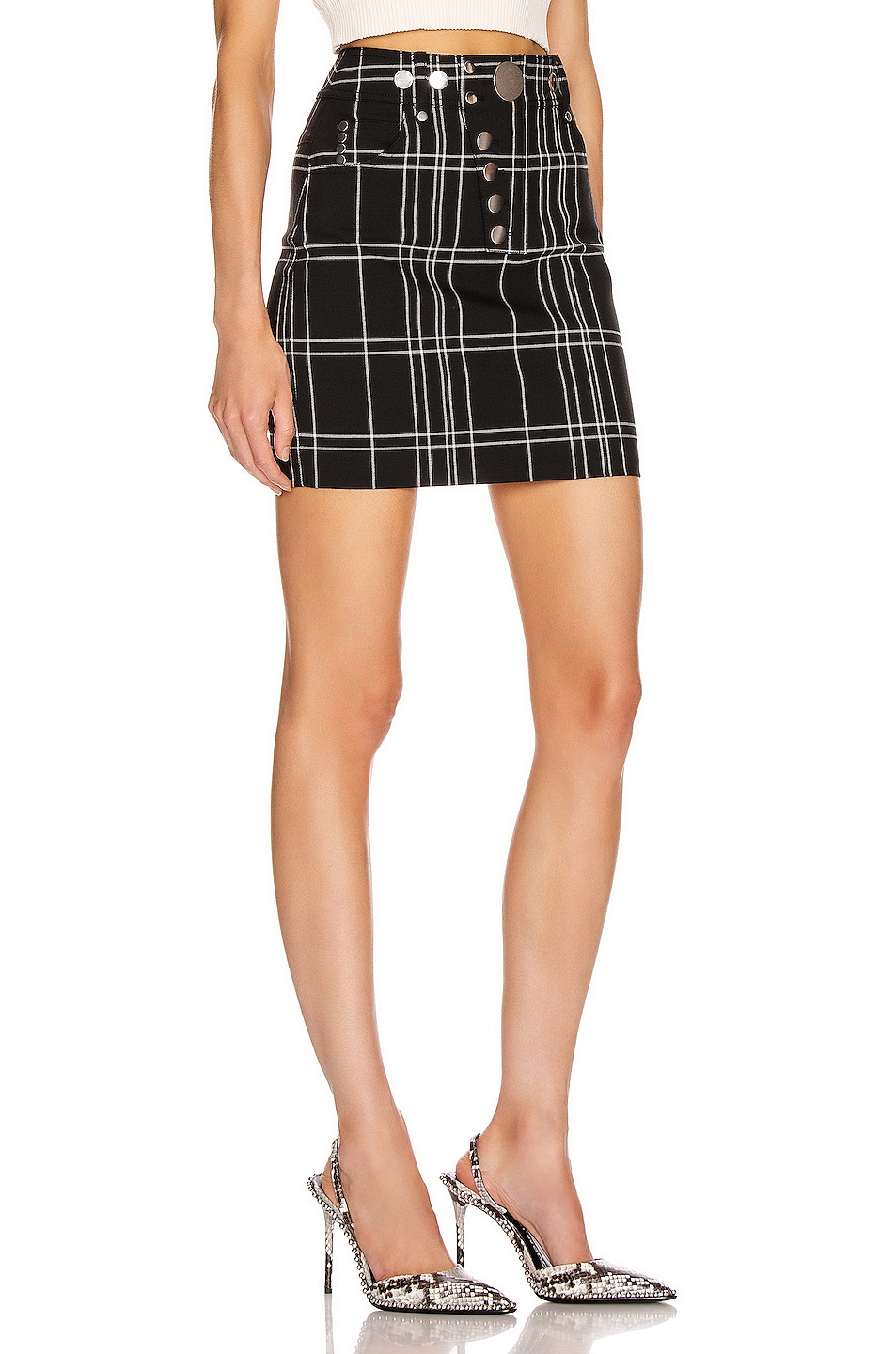 Image 2 of Alexander Wang Front Snap Skirt in Black & White Windowpane