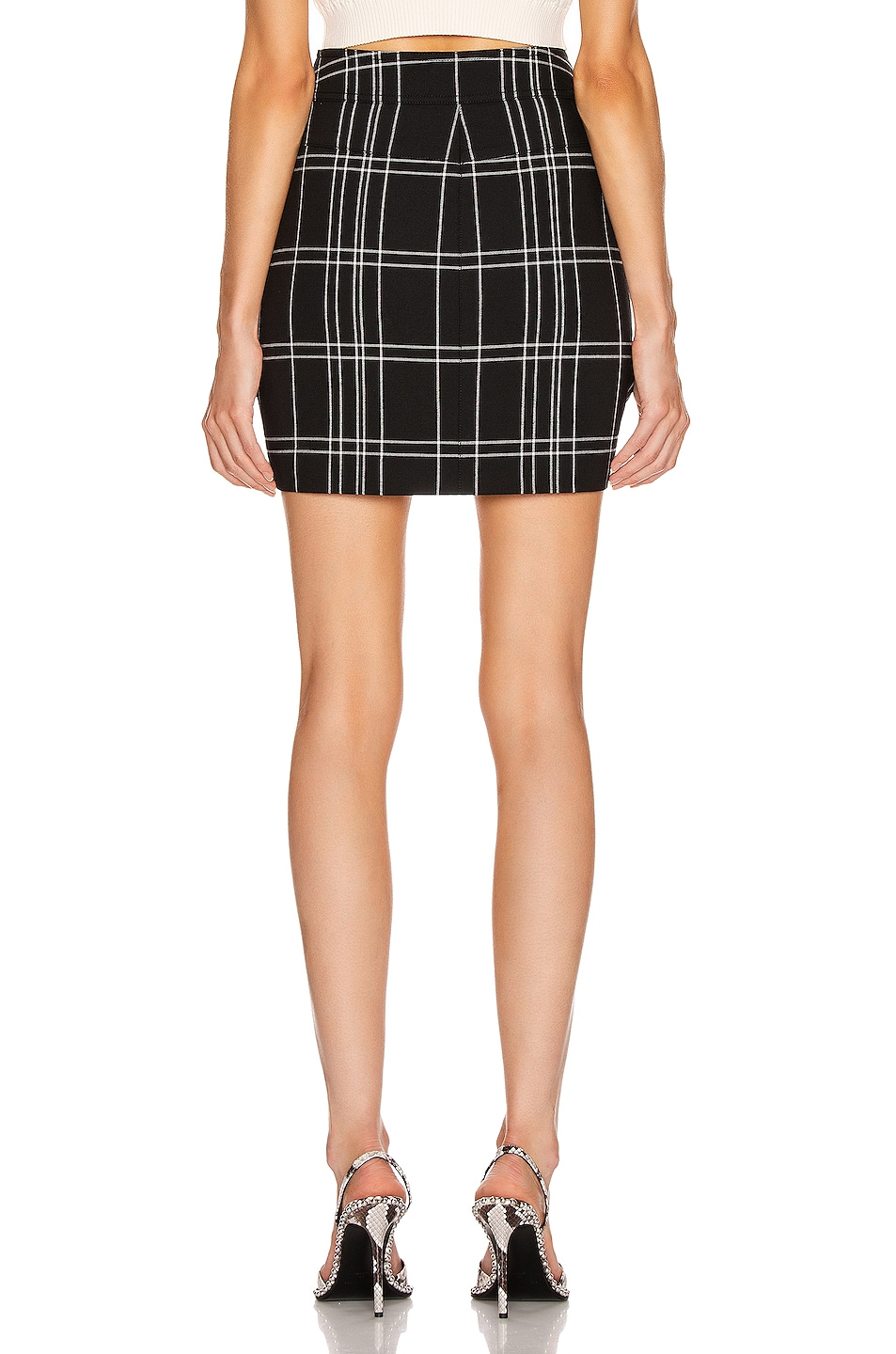 Image 3 of Alexander Wang Front Snap Skirt in Black & White Windowpane