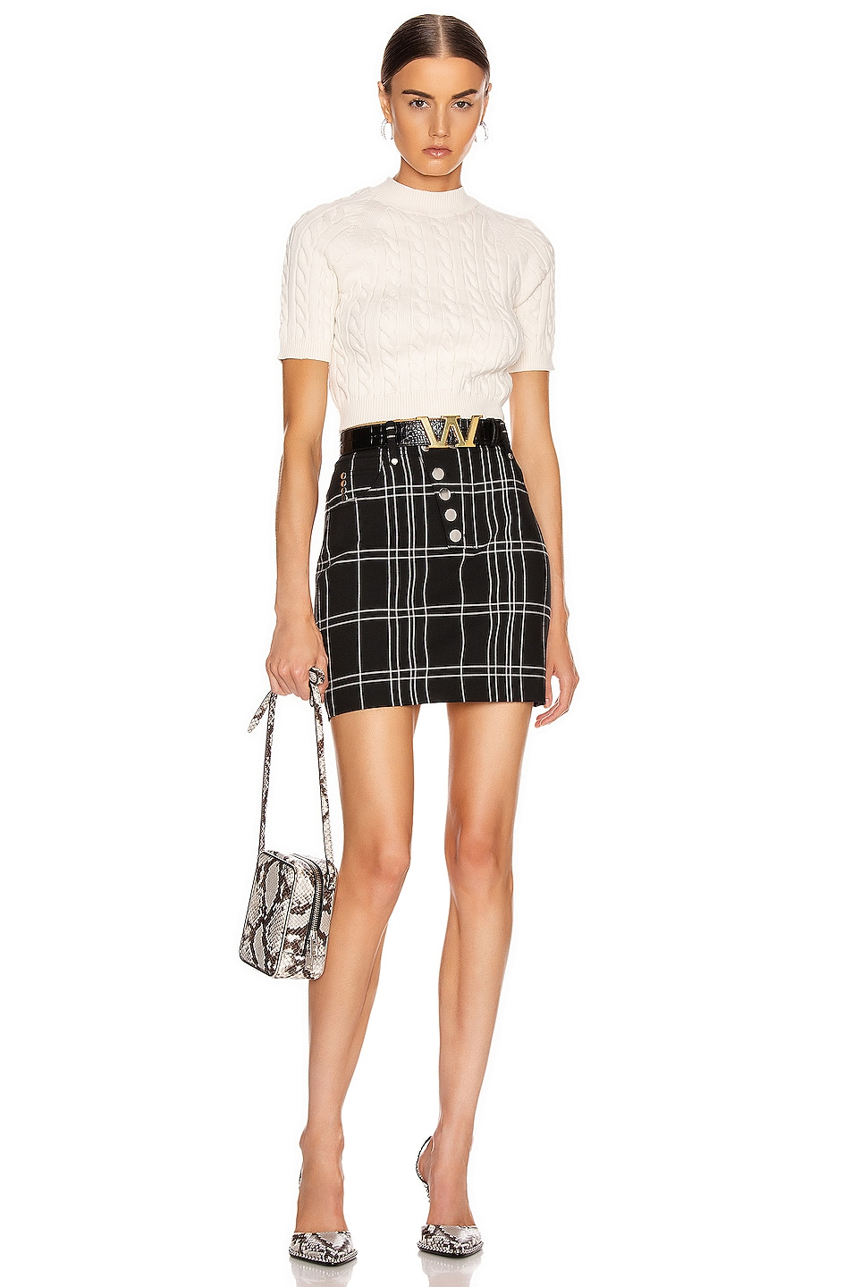 Image 4 of Alexander Wang Front Snap Skirt in Black & White Windowpane