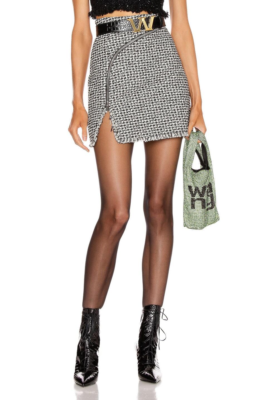 Image 1 of Alexander Wang Tweed Zipper Mini Skirt in Black & White