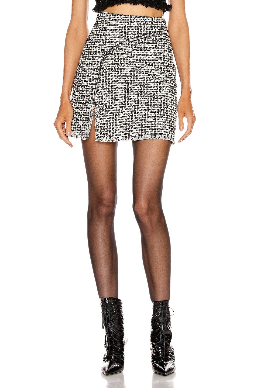 Image 2 of Alexander Wang Tweed Zipper Mini Skirt in Black & White