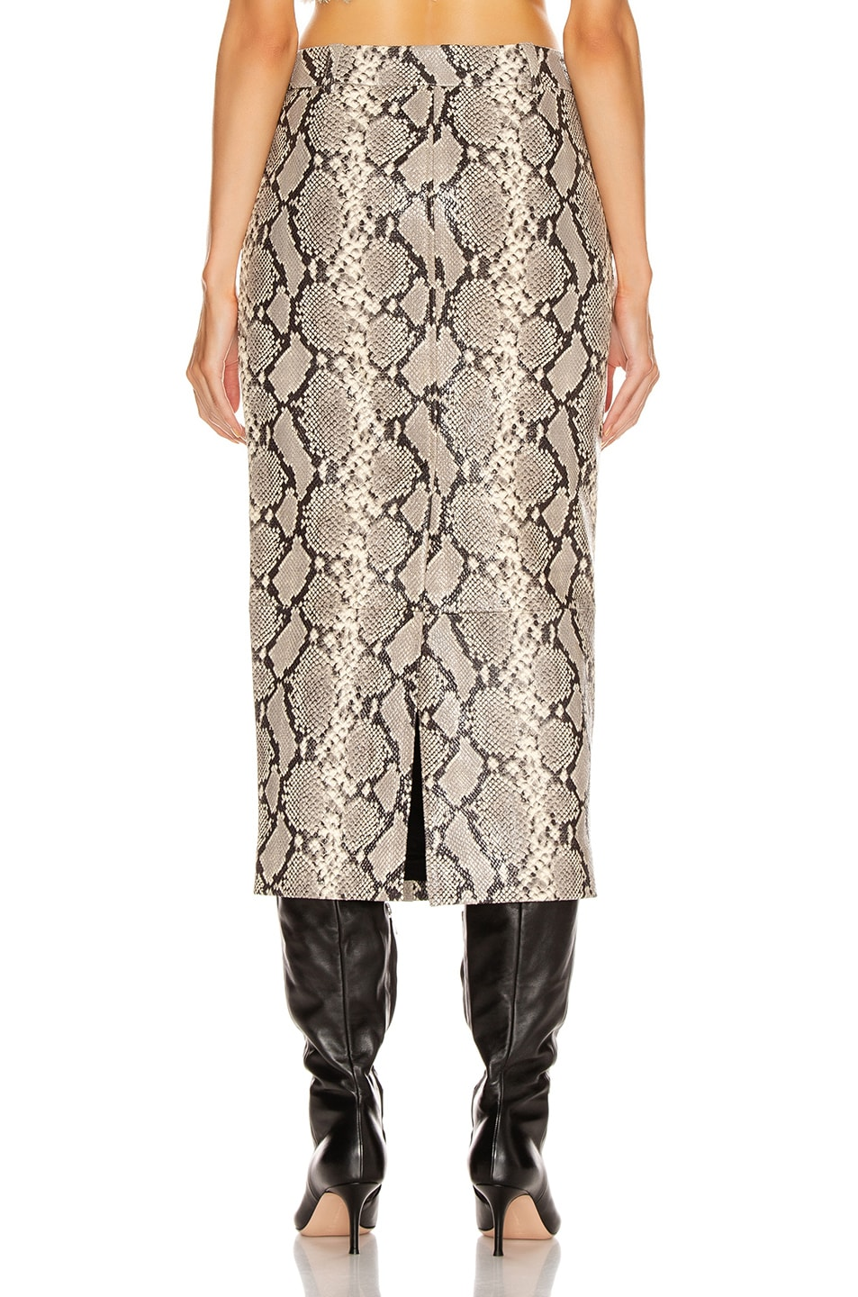 Image 3 of Alexander Wang Leather Exposed Zipper Peg Skirt in Natural