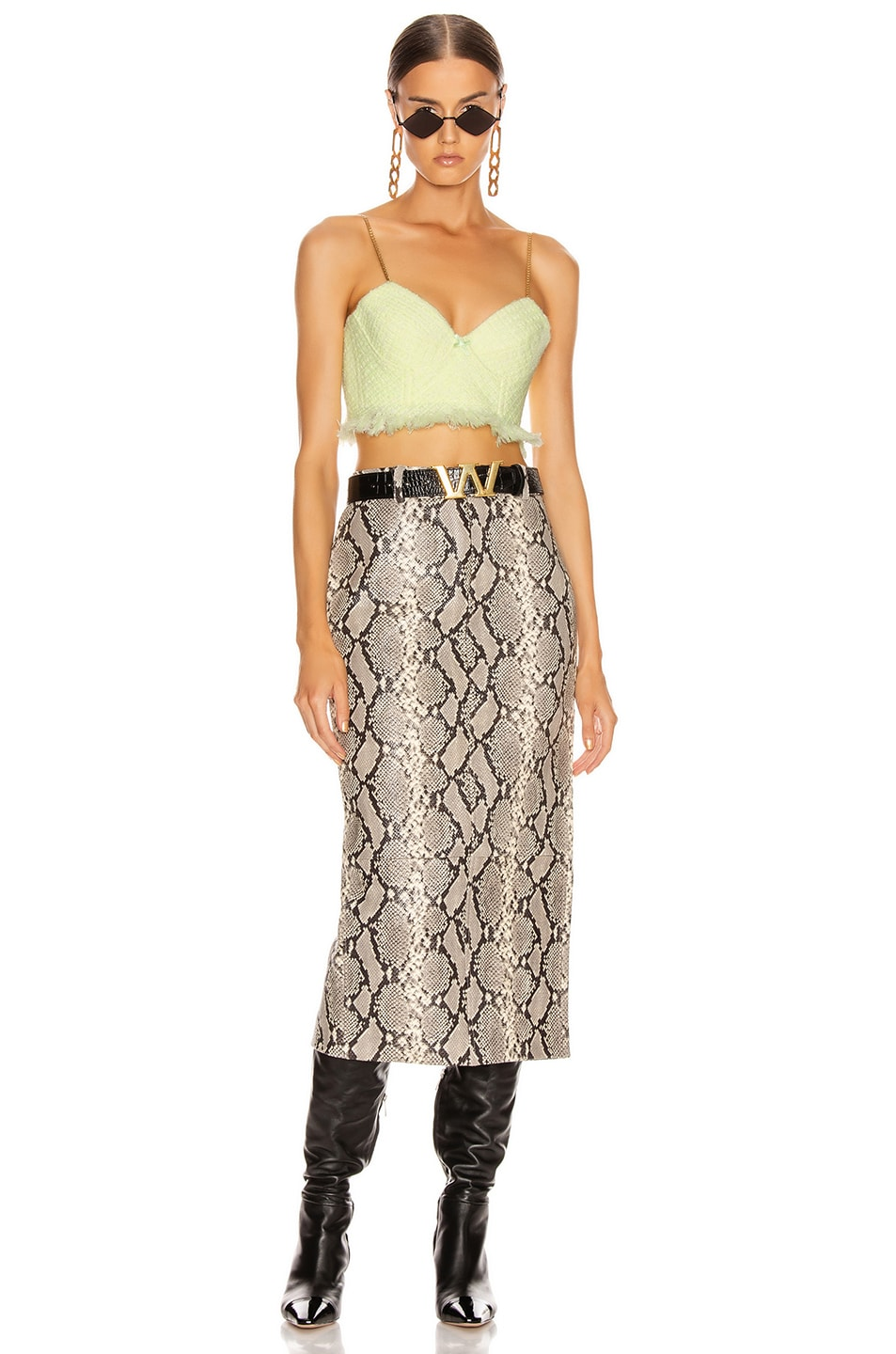Image 4 of Alexander Wang Leather Exposed Zipper Peg Skirt in Natural