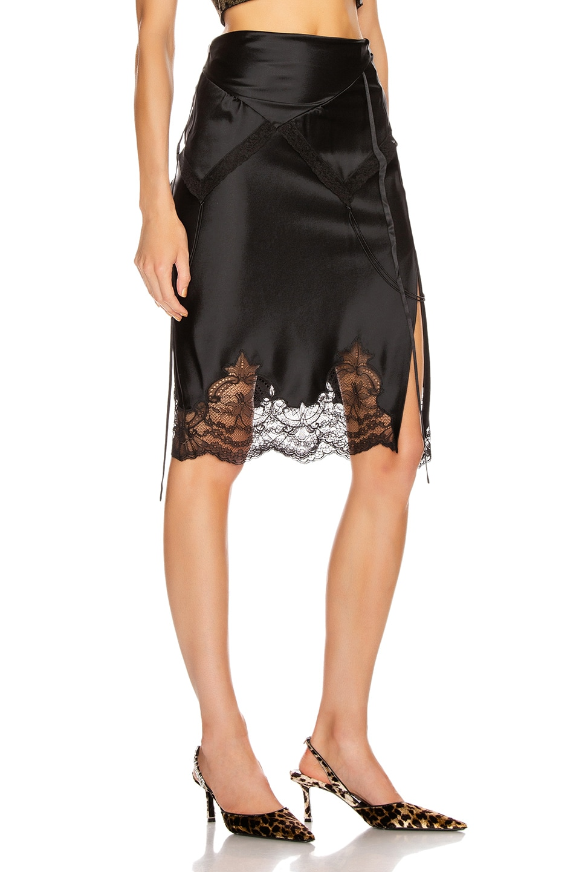Image 2 of Alexander Wang Tie Fold Over Slip Skirt in Black