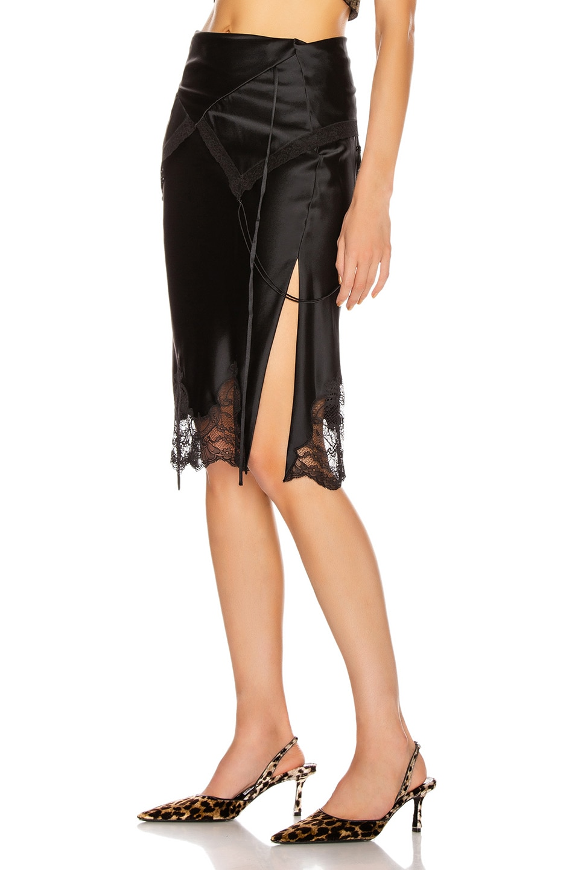 Image 3 of Alexander Wang Tie Fold Over Slip Skirt in Black