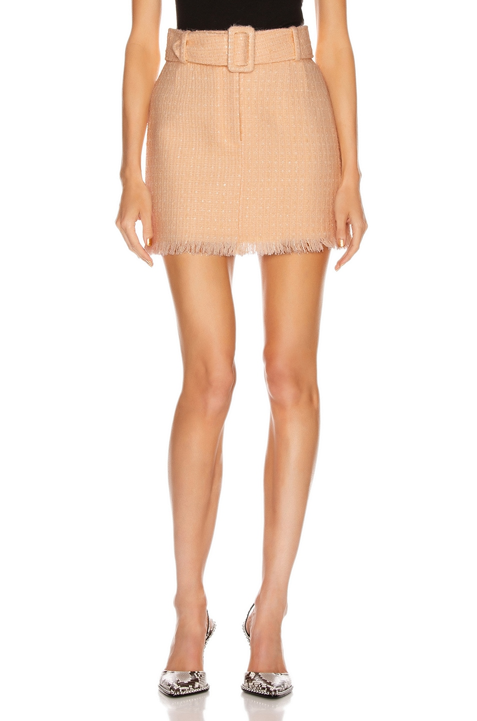 Image 1 of Alexander Wang Tweed Mini Skirt in Blaze