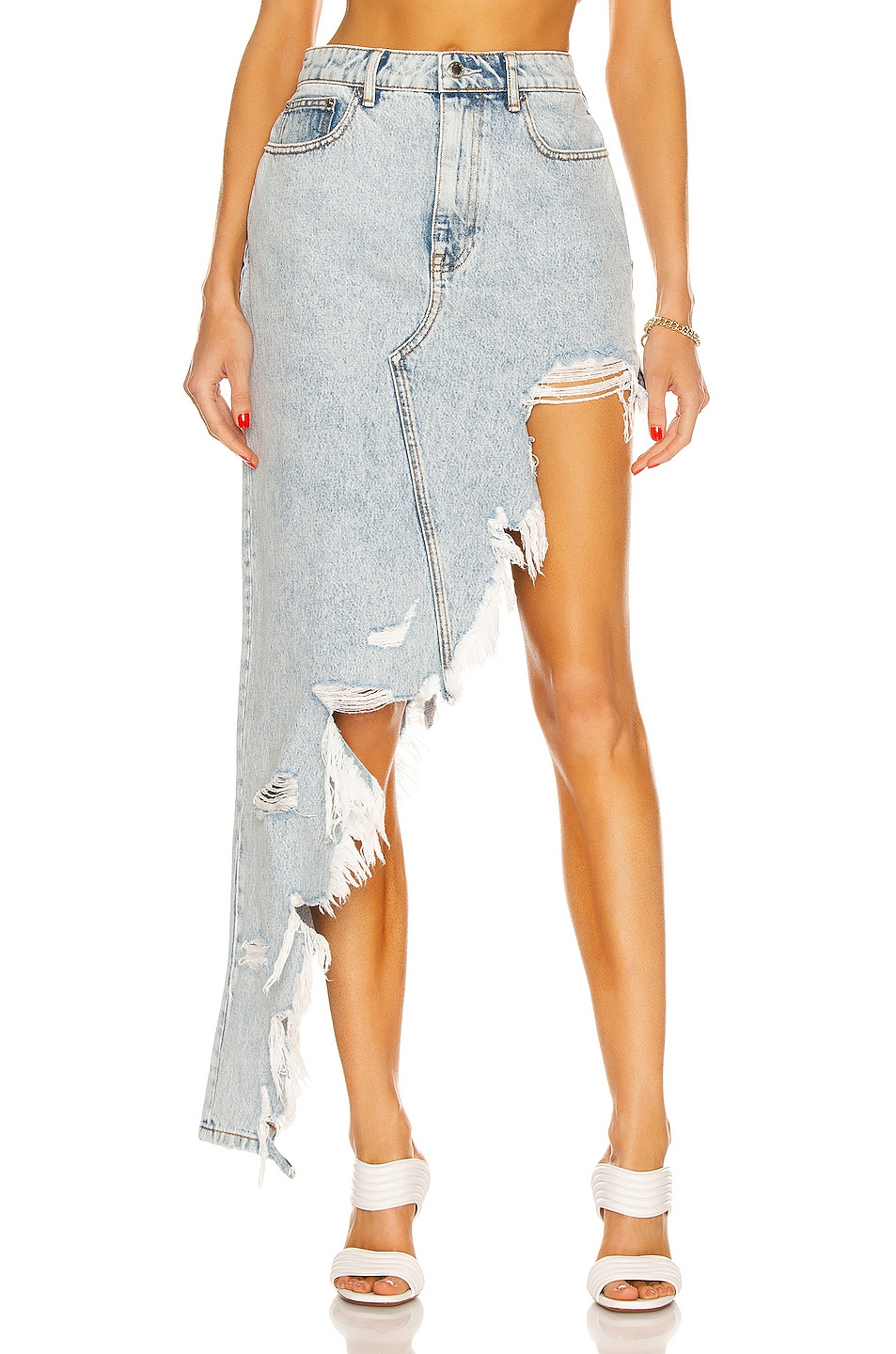 Image 1 of Alexander Wang Asymmetric Fray Denim Skirt in Pebble Bleach