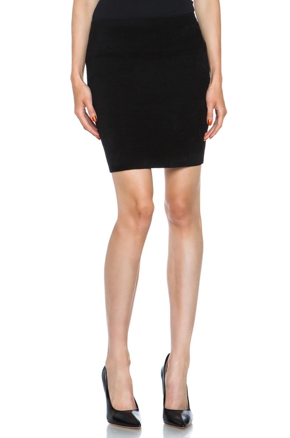 Image 1 of Alexander Wang Fur Stripe Viscose-Blend Pencil Skirt in Asphalt