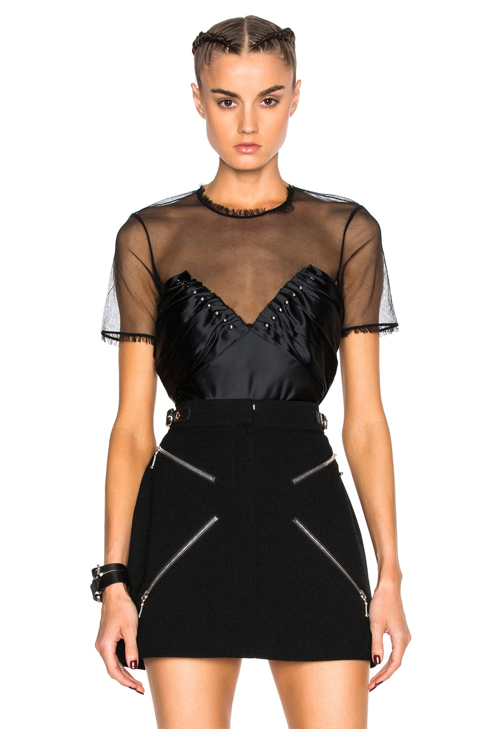 Image 1 of Alexander Wang Ruched Ball Studs Top in Jet