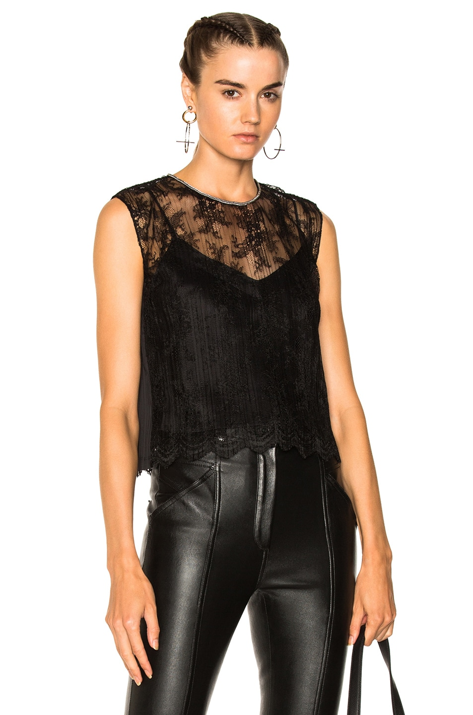 Alexander Wang Chain Trim Lace Top in Black