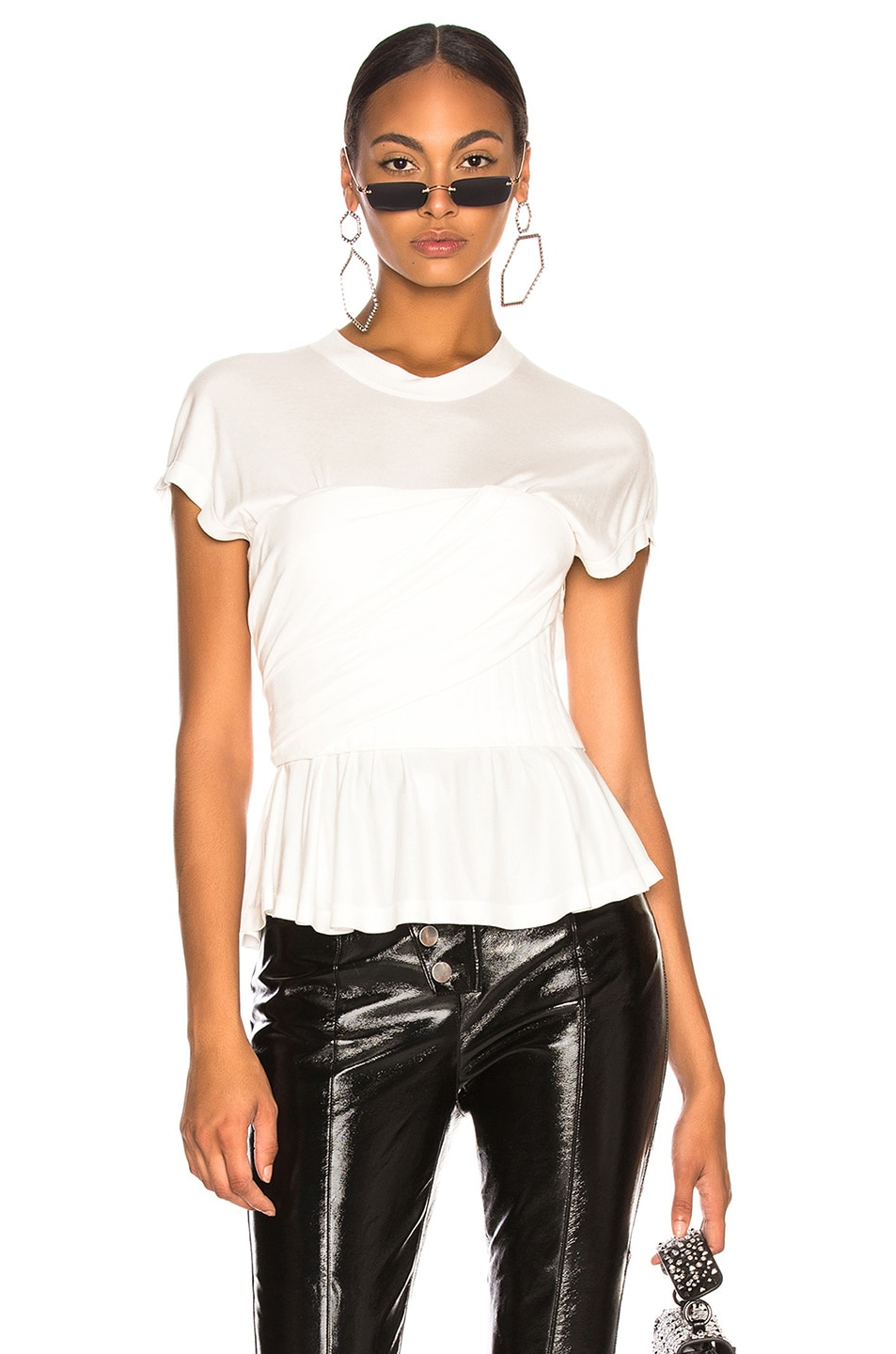 Image 1 of Alexander Wang Elevated Twist Neck Tee in Ivory