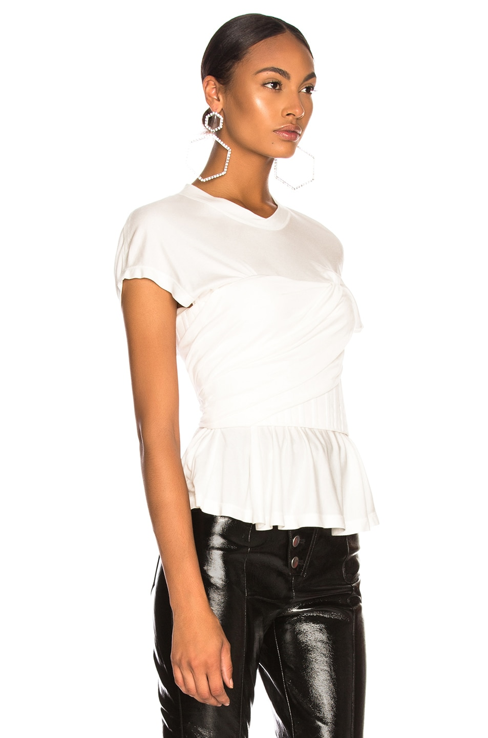 Image 2 of Alexander Wang Elevated Twist Neck Tee in Ivory