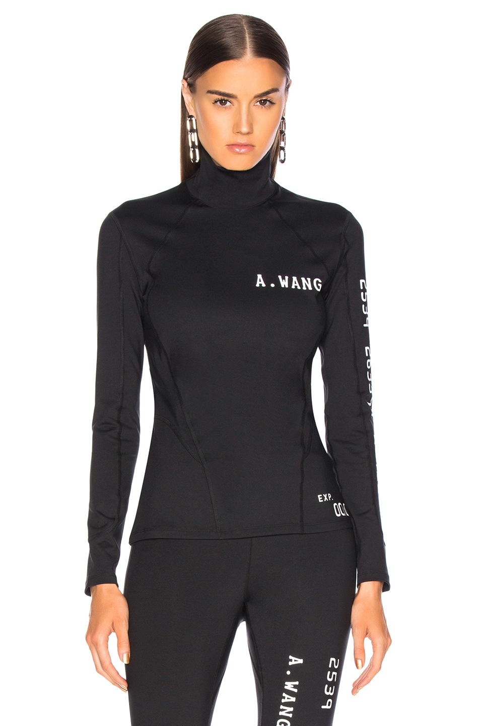 Image 2 of Alexander Wang Long Sleeve Scuba Rash Guard Top in Black