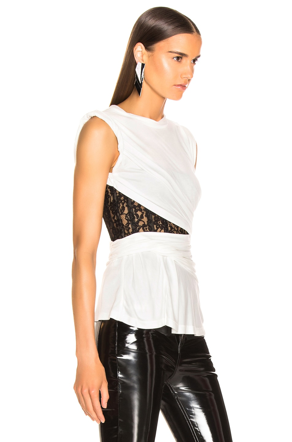 Image 2 of Alexander Wang Lace Bustier T-Shirt in White