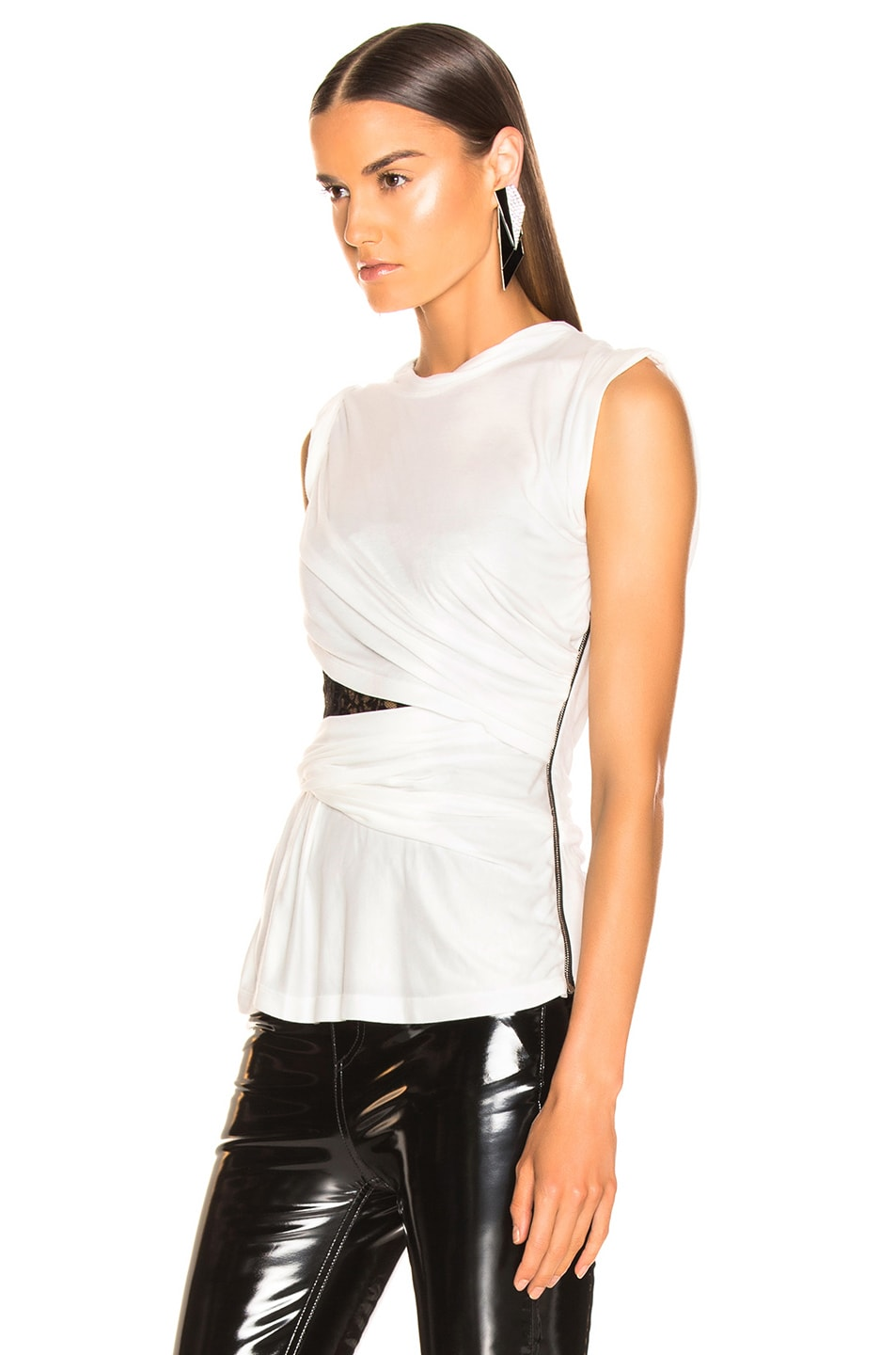 Image 3 of Alexander Wang Lace Bustier T-Shirt in White
