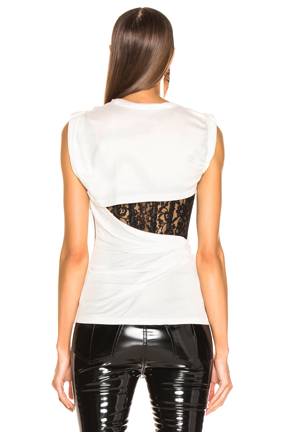 Image 4 of Alexander Wang Lace Bustier T-Shirt in White
