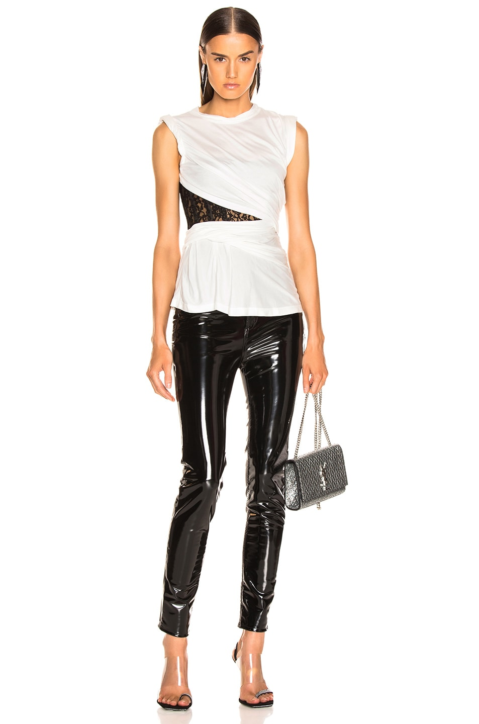 Image 5 of Alexander Wang Lace Bustier T-Shirt in White