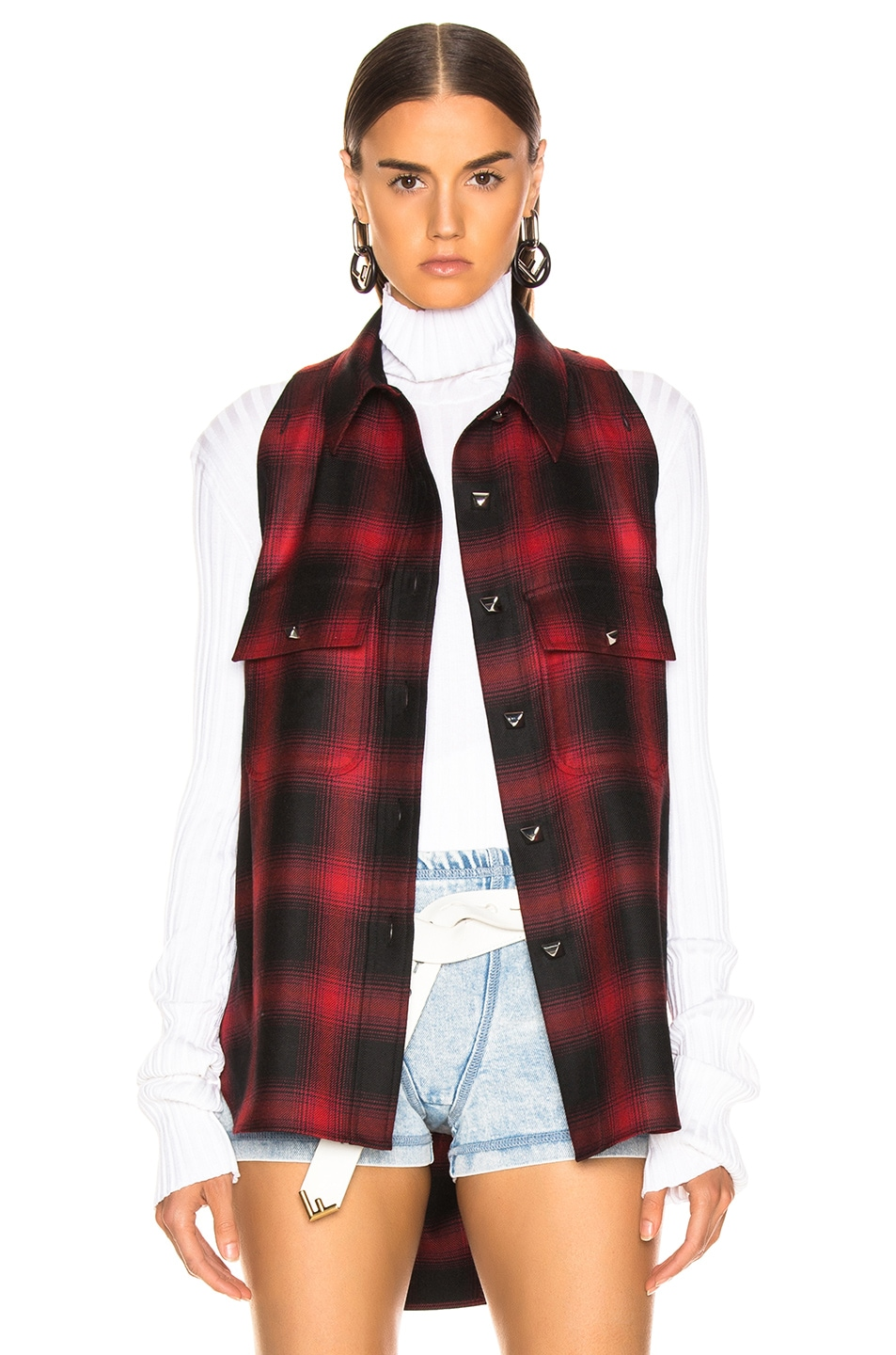 Image 3 of Alexander Wang Wool Button Off Flannel in Red