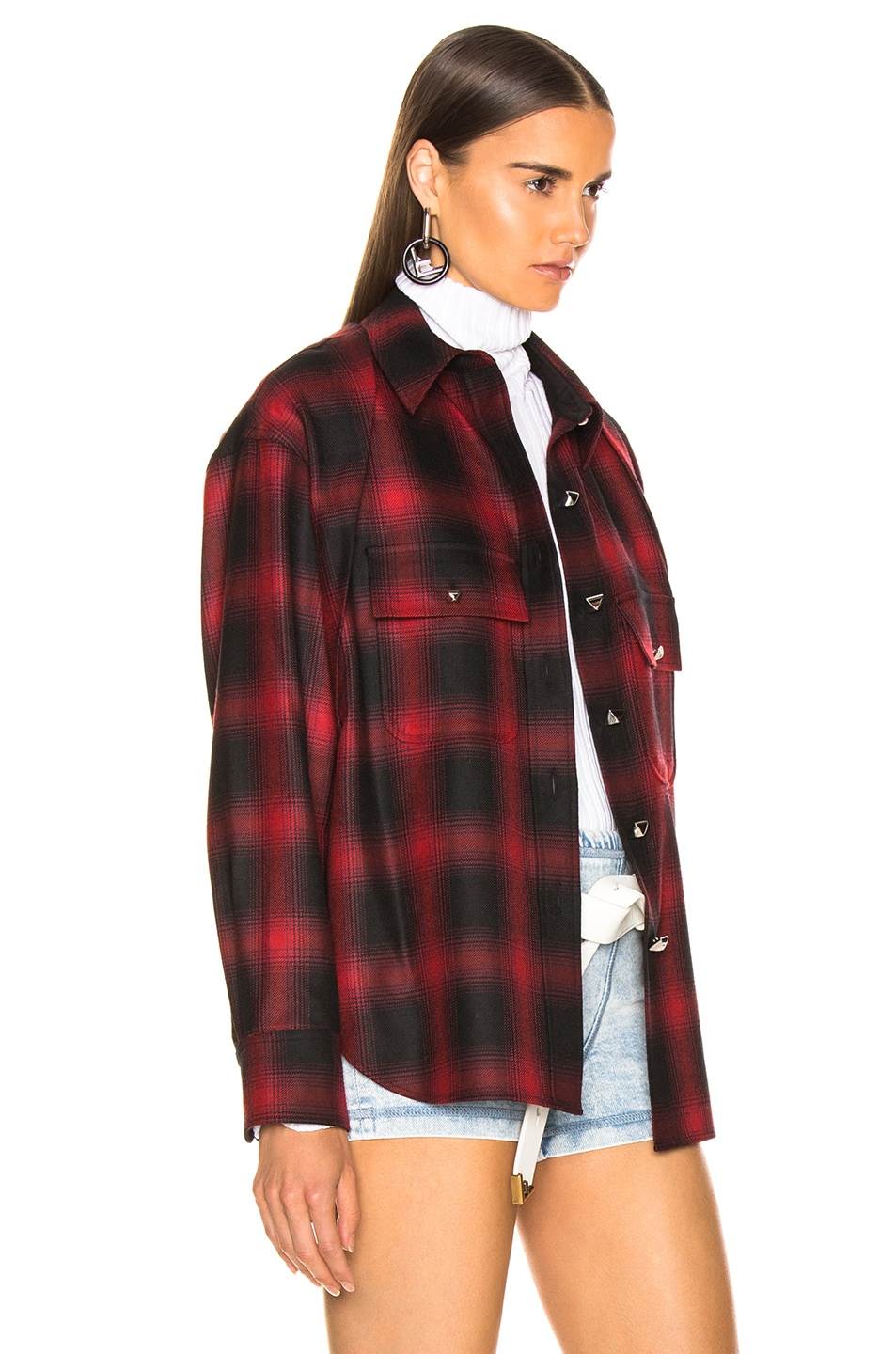 Image 4 of Alexander Wang Wool Button Off Flannel in Red