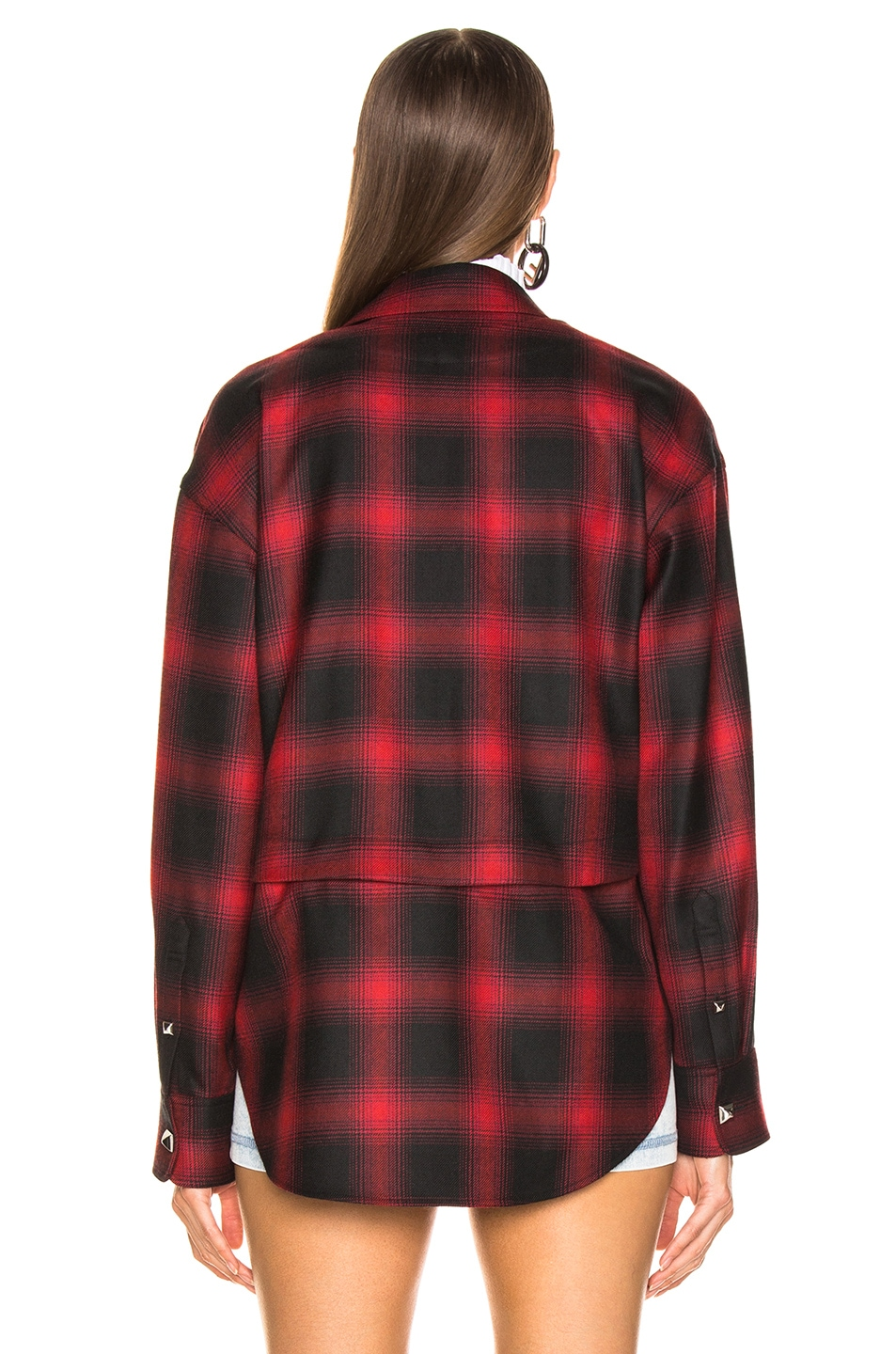 Image 5 of Alexander Wang Wool Button Off Flannel in Red