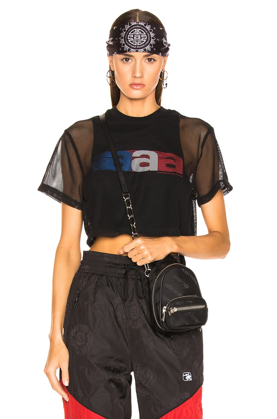 Image 1 of Alexander Wang AAA Logo Mesh T-Shirt in Black