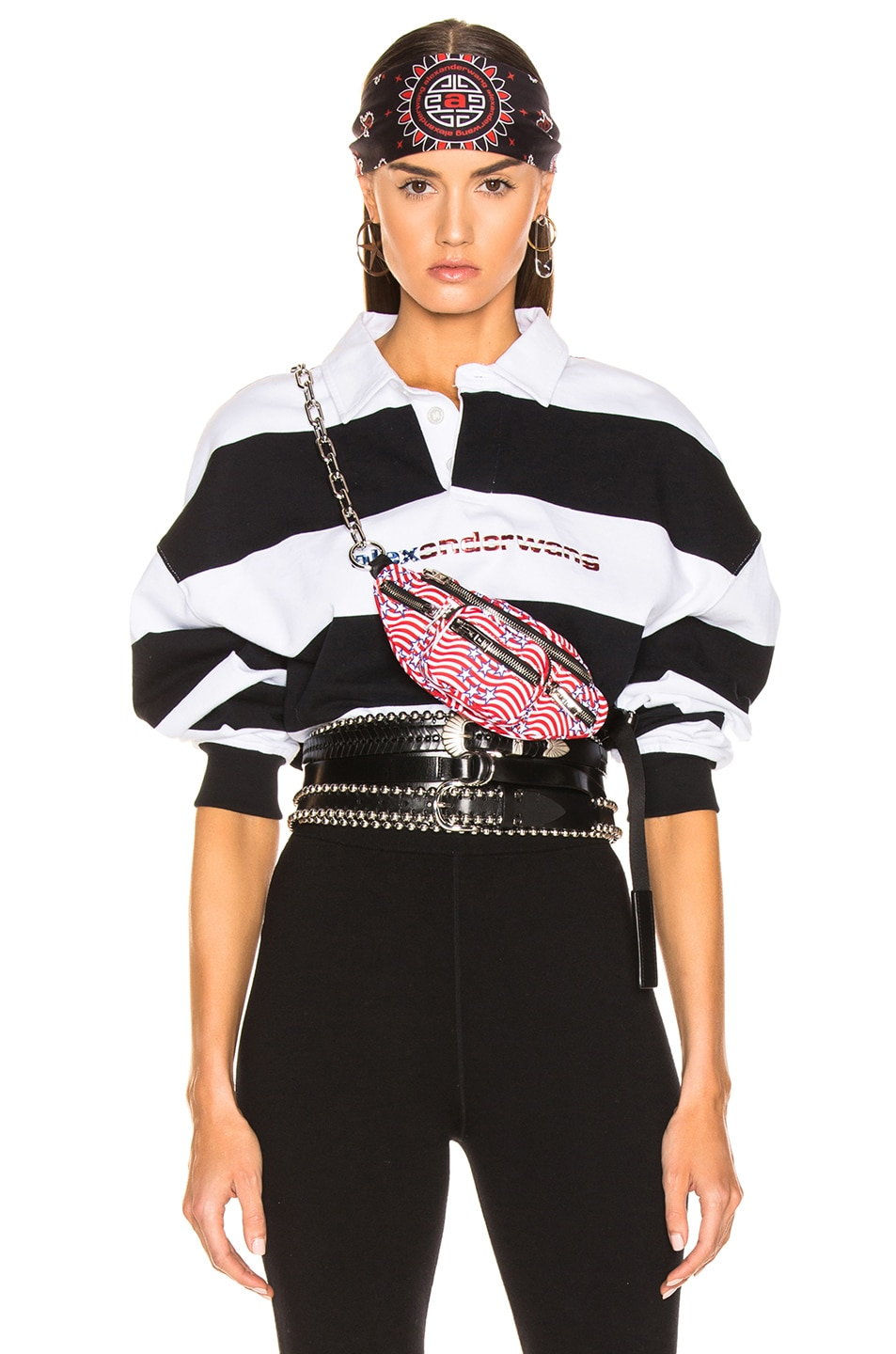 Image 1 of Alexander Wang Rugby Stripe Cropped Shirt in Black & White