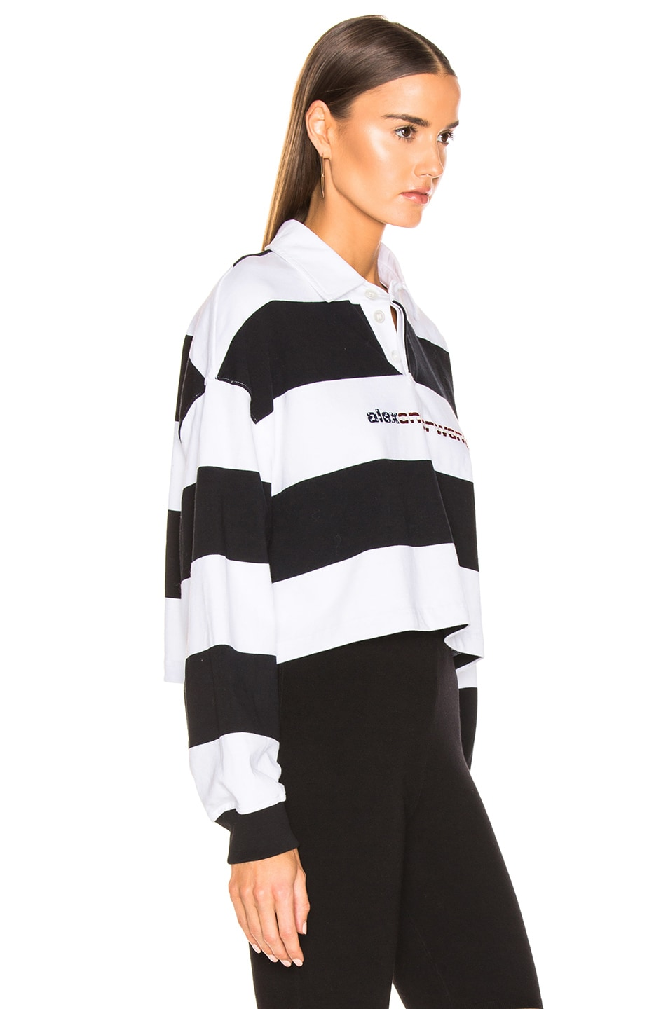 Image 3 of Alexander Wang Rugby Stripe Cropped Shirt in Black & White