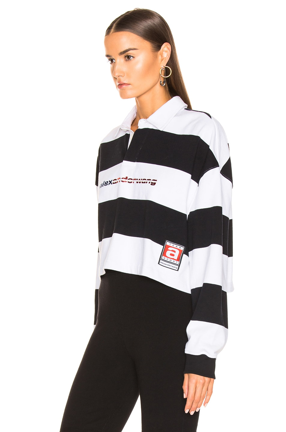 Image 4 of Alexander Wang Rugby Stripe Cropped Shirt in Black & White