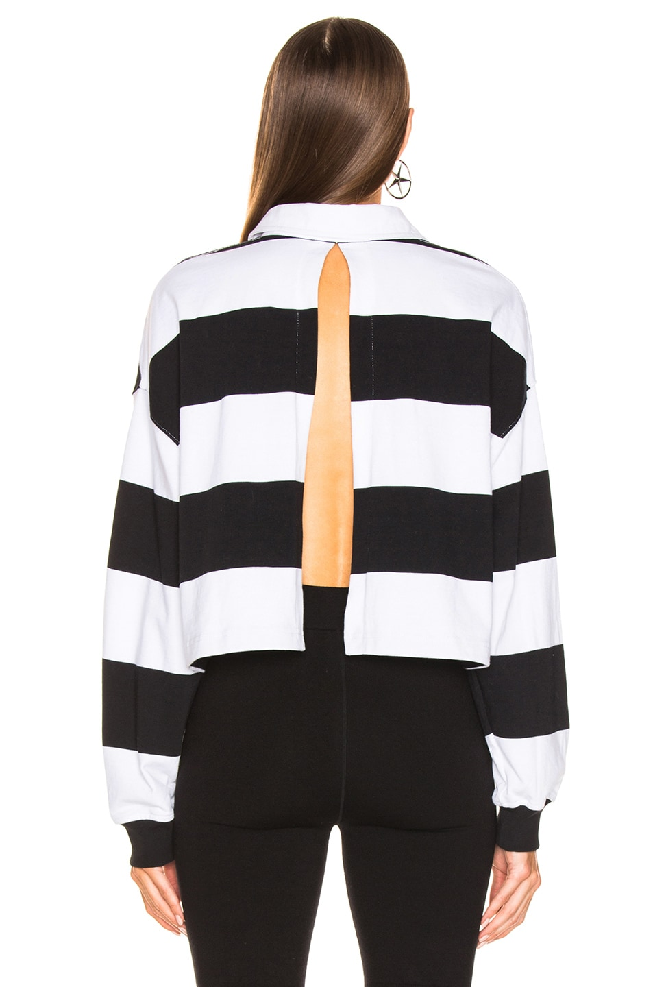 Image 5 of Alexander Wang Rugby Stripe Cropped Shirt in Black & White