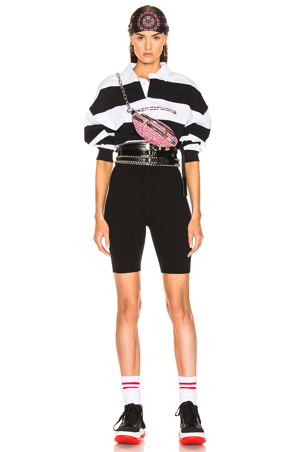 Image 6 of Alexander Wang Rugby Stripe Cropped Shirt in Black & White