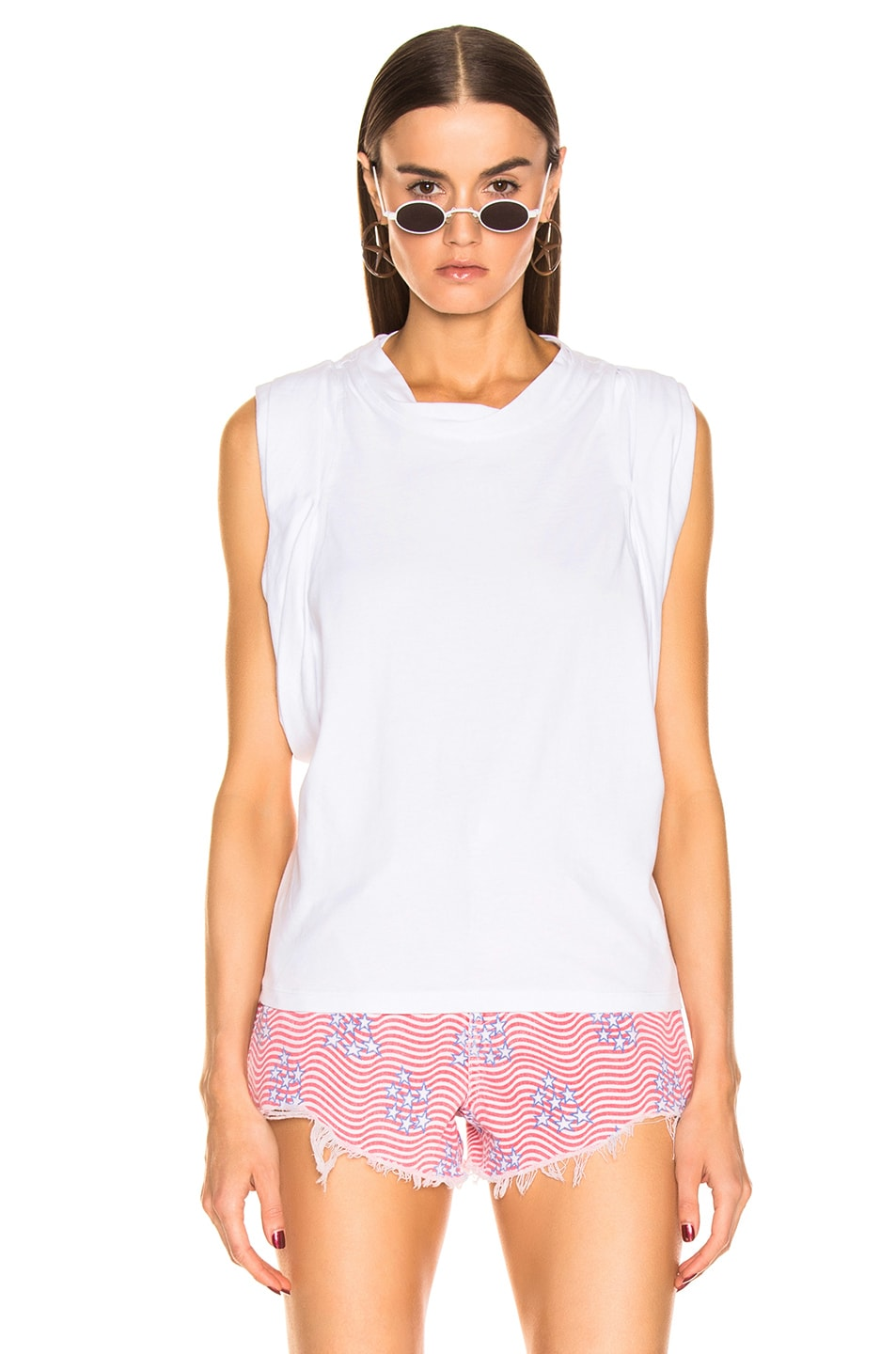 Image 2 of Alexander Wang Draped Racer Back Tank Top in White