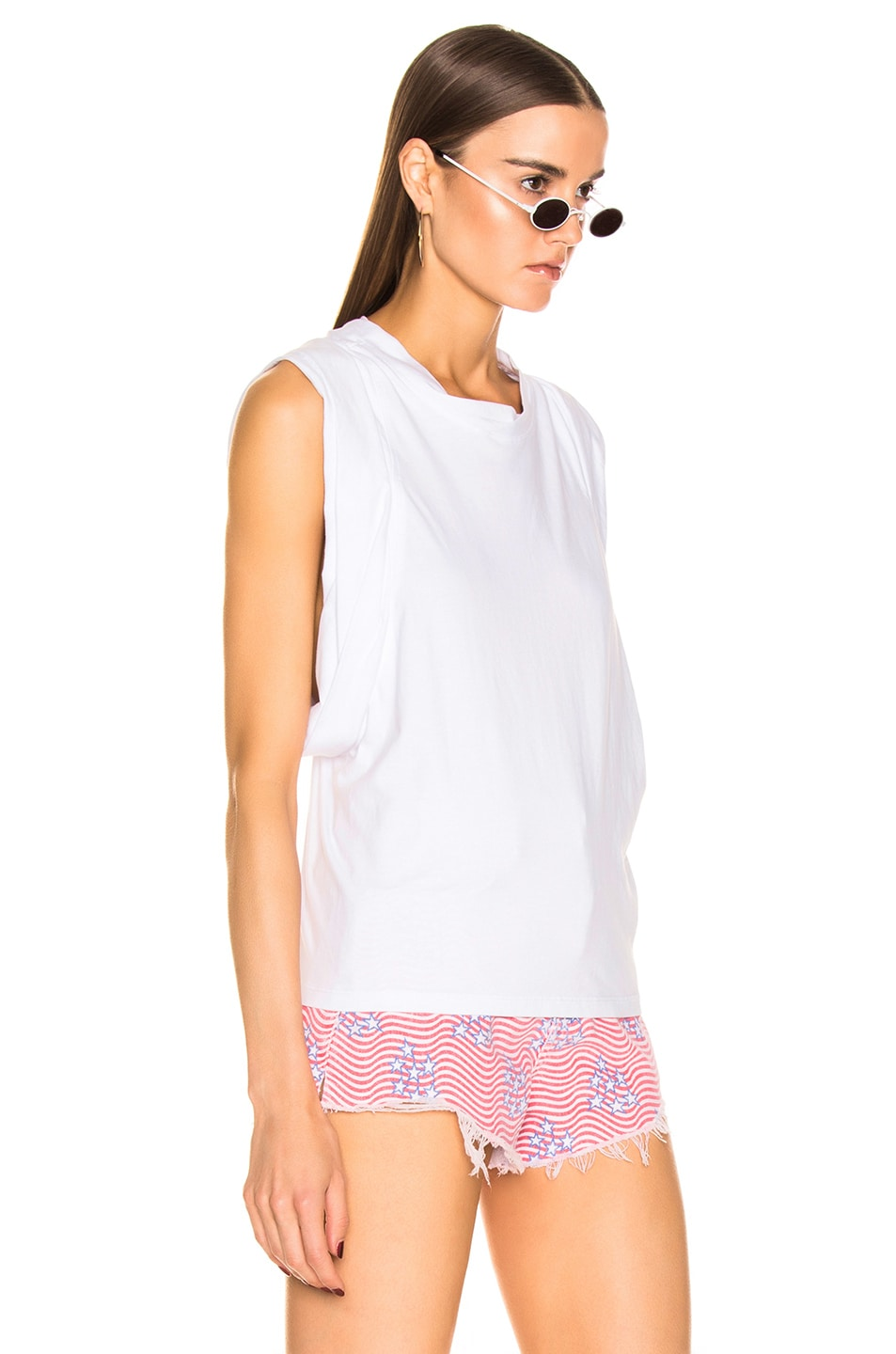 Image 3 of Alexander Wang Draped Racer Back Tank Top in White