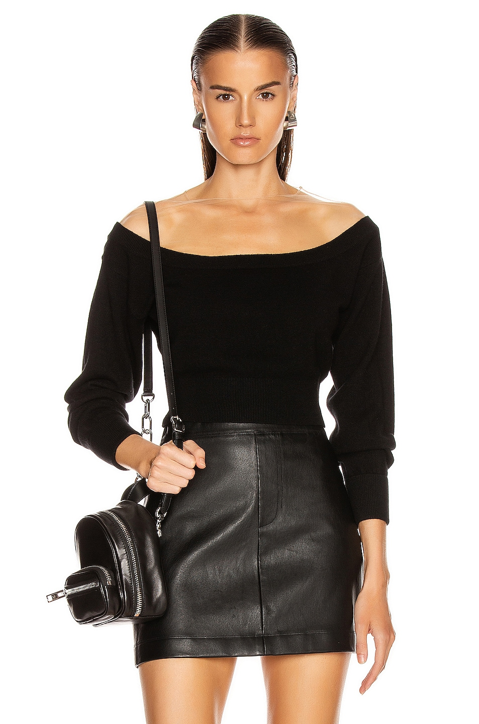 Image 1 of Alexander Wang Fitted Cropped Top in Black
