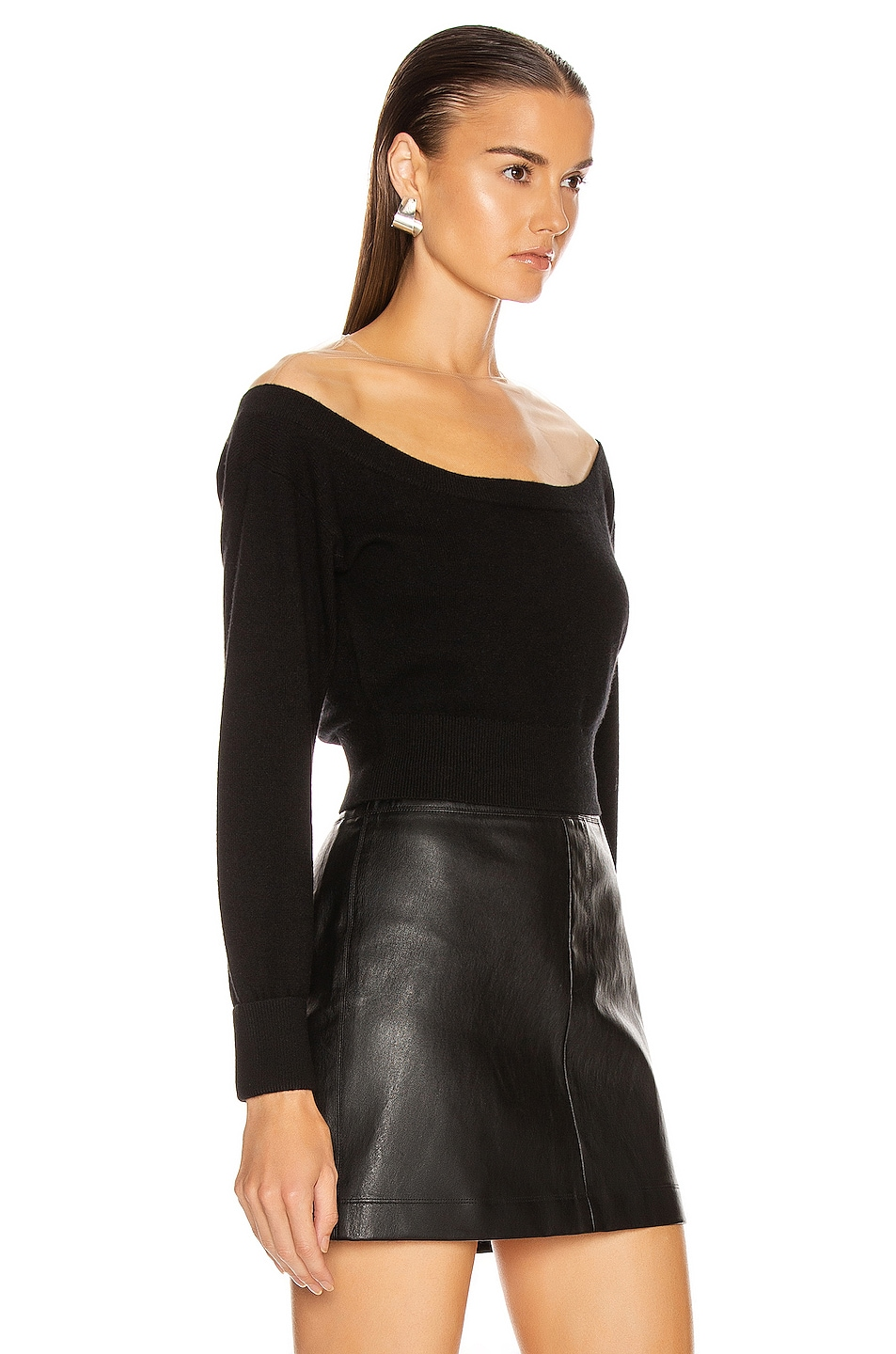 Image 2 of Alexander Wang Fitted Cropped Top in Black