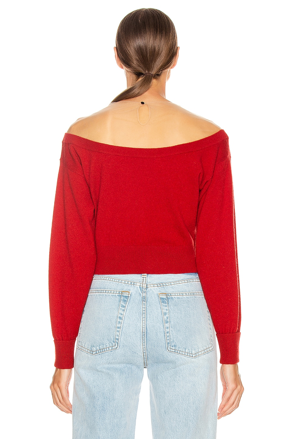 Image 3 of Alexander Wang Fitted Cropped Top in Red