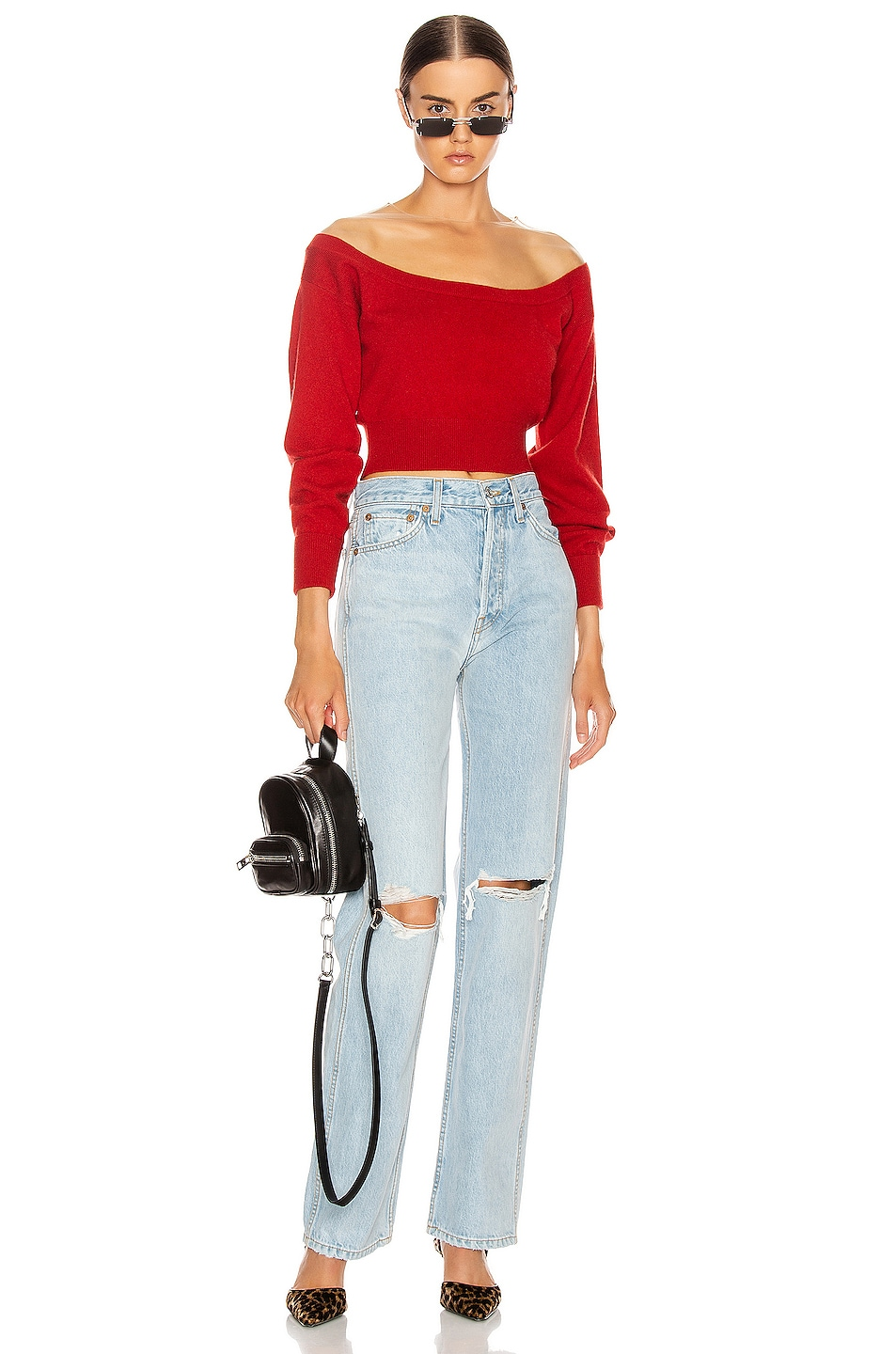 Image 4 of Alexander Wang Fitted Cropped Top in Red