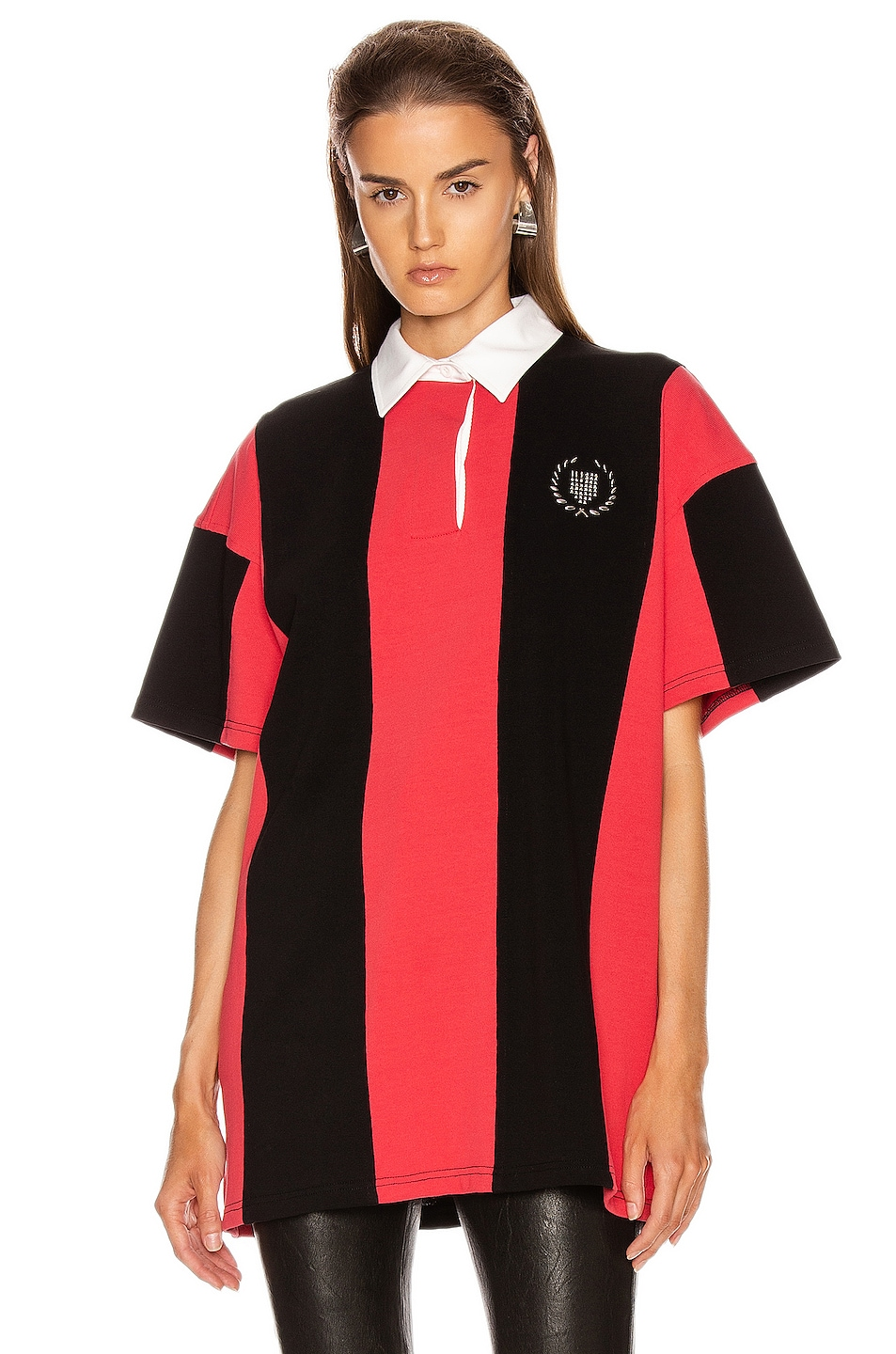 Image 2 of Alexander Wang Short Sleeve Rugby Collared Shirt in Faded Red & Black