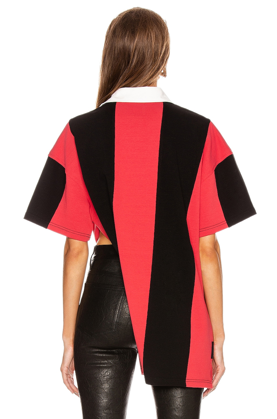 Image 5 of Alexander Wang Short Sleeve Rugby Collared Shirt in Faded Red & Black