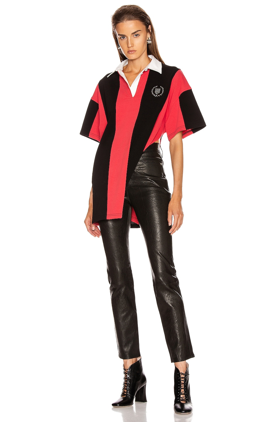 Image 6 of Alexander Wang Short Sleeve Rugby Collared Shirt in Faded Red & Black