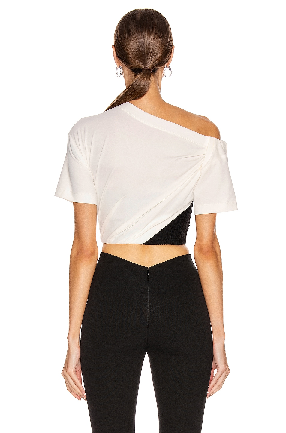 Image 3 of Alexander Wang Draped Bustier T Shirt in Soft White