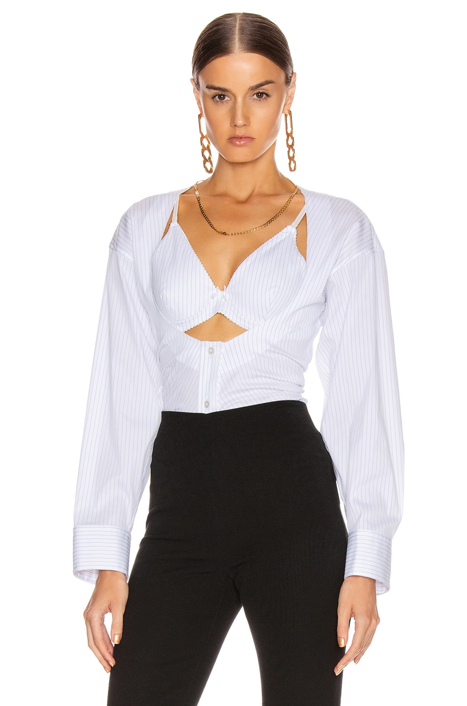 Image 1 of Alexander Wang Fitted Poplin Twin Set Top in Blue Banker Stripe