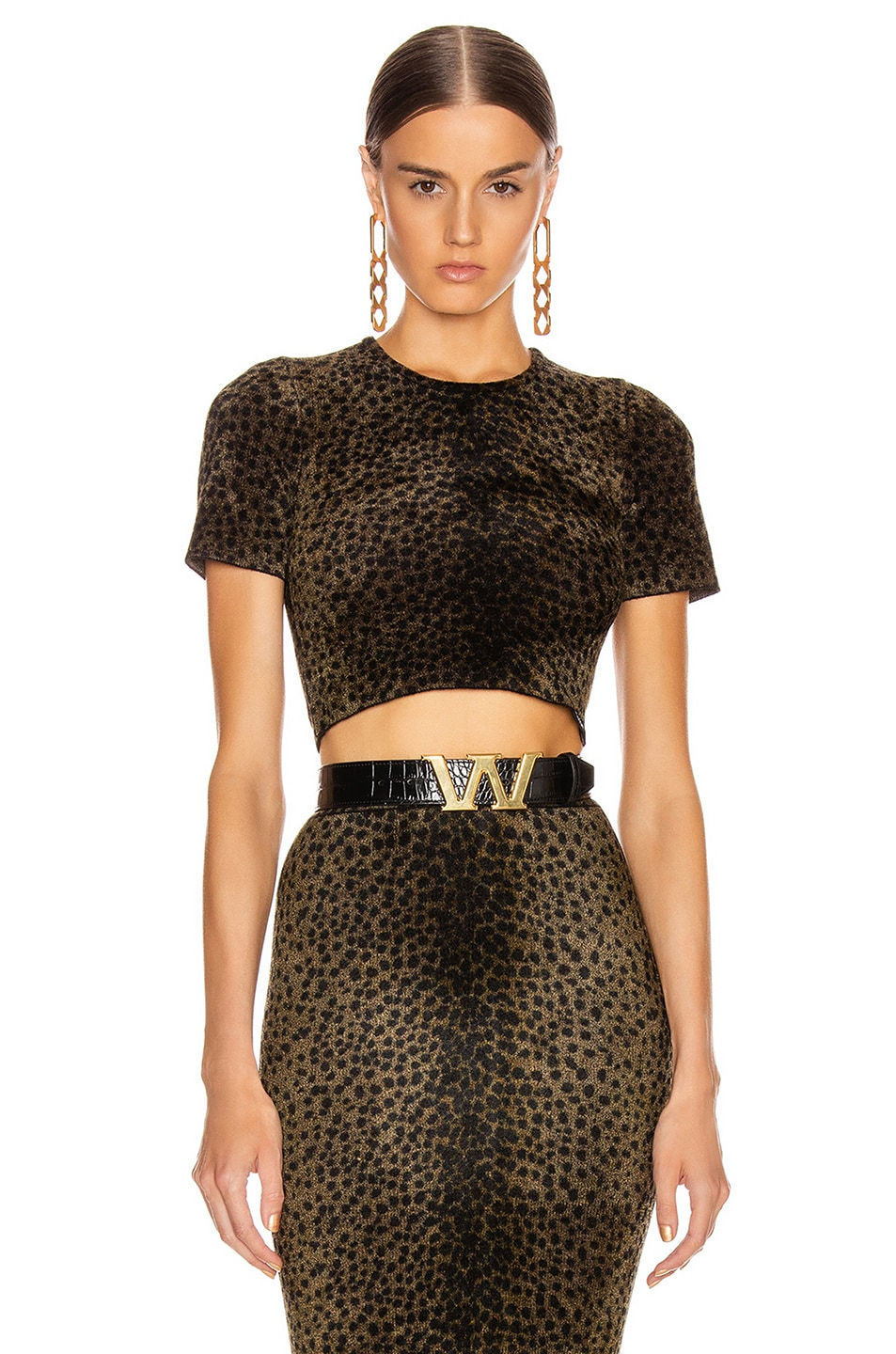 Image 1 of Alexander Wang Crew Crop Tee in Black & Gold